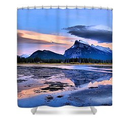 Mount Rundle In The Evening Shower Curtain by Tara Turner