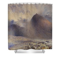 Mount Snowdon Through Clearing Clouds Shower Curtain by Alfred William Hunt