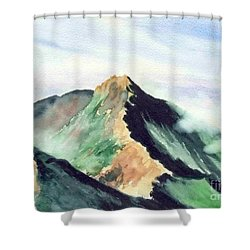 Shower Curtain featuring the painting Mountain  1 by Yoshiko Mishina