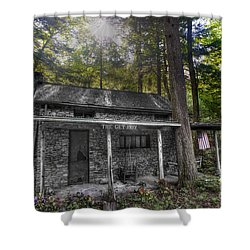 Mountain Cabin Shower Curtain by Dan Friend