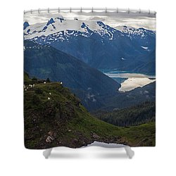 Mountain Flock Shower Curtain by Mike Reid
