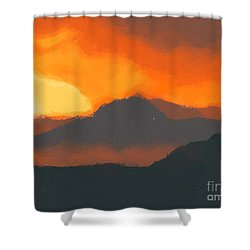 Mountain Sunset Shower Curtain by Pixel  Chimp