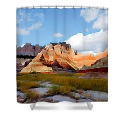 Mountains And Sky In Badlands National Park Shower Curtain by Elaine Plesser