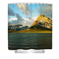 Mountains At Many Glacier Shower Curtain by Jeff Swan