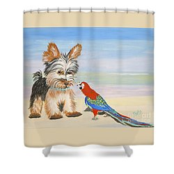 Mouthy Parrot Shower Curtain