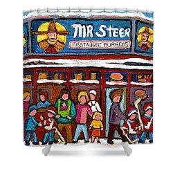 Mr Steer Restaurant Montreal Shower Curtain by Carole Spandau