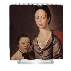 Mrs. Aaron Lopez And Her Son Joshua Shower Curtain by  Gilbert Stuart