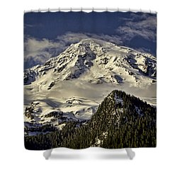 Mt Rainier Shower Curtain by Heather Applegate