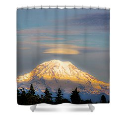Mt Rainier Sunset With Lenticular Clouds Shower Curtain by David Patterson