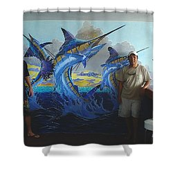 Mural In Bimini Shower Curtain by Carey Chen