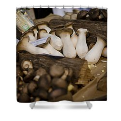Mushrooms At The Market Shower Curtain by Heather Applegate