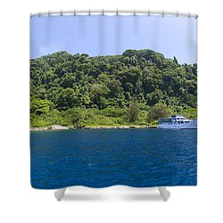 Mv Spirit Of Solomons Moored In Front Shower Curtain by Steve Jones