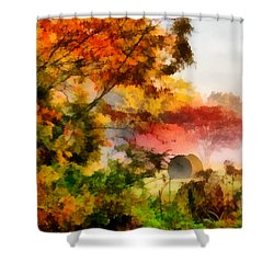 Shower Curtain featuring the painting My Front Yard by Lynne Jenkins
