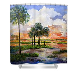 Myakka Sunset Shower Curtain by Lou Ann Bagnall