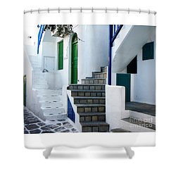 Mykonos Stairs Shower Curtain by Rebecca Margraf