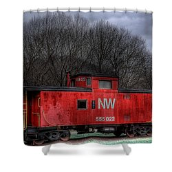 N W Caboose Shower Curtain by Todd Hostetter