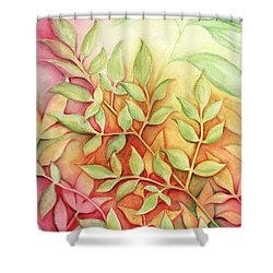 Shower Curtain featuring the painting Nandina Leaves by Carla Parris