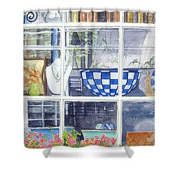 Shower Curtain featuring the painting Nantucket Shop-lecherche Midi by Carol Flagg