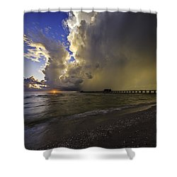 Naples Pier Storm Sunset Shower Curtain