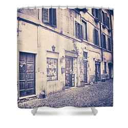 narrow street in Rome Shower Curtain by Joana Kruse