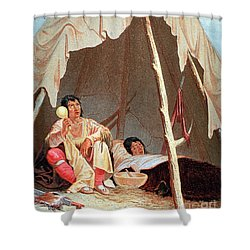 Native American Indian Medicine Man Shower Curtain by Science Source
