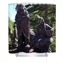 Shower Curtain featuring the photograph Native American Statue by Chalet Roome-Rigdon