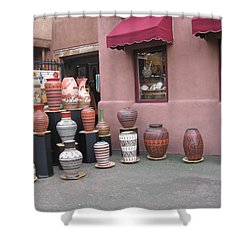 Shower Curtain featuring the photograph Native Jars And Vases Market by Dora Sofia Caputo Photographic Art and Design