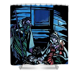 Nativity Stained Glass Shower Curtain by Methune Hively
