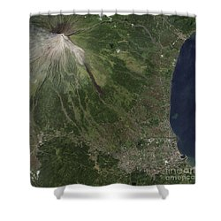Natural-color Image Of The Mayon Shower Curtain by Stocktrek Images