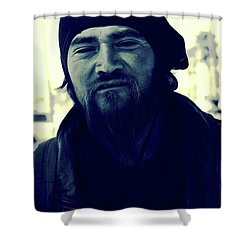 Navy Blue Man Shower Curtain