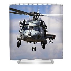 Navy Pilots In A Sh-60f Seahawk Conduct Shower Curtain by Michael Wood
