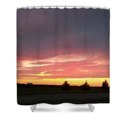 Nebraska Sunset Shower Curtain by Adam Cornelison