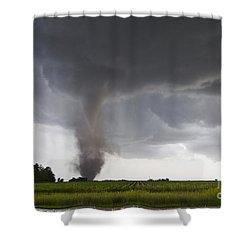 Nebraska Tornado Shower Curtain by Mike Hollingshead and Photo Researchers