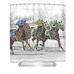 Shower Curtain featuring the drawing Neck And Neck - Horse Race Print Color Tinted by Kelli Swan