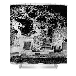 Negative Image Of Cemetary Shower Curtain by JSM Fine Arts John Malone