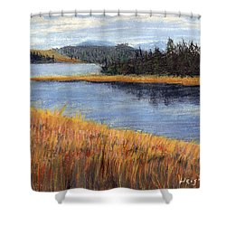 Shower Curtain featuring the painting Nestucca River And Bay  by Chriss Pagani