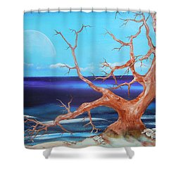 Shower Curtain featuring the painting Never Alone by Dan Whittemore