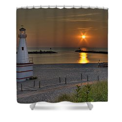New Buffalo City Beach Sunset Shower Curtain