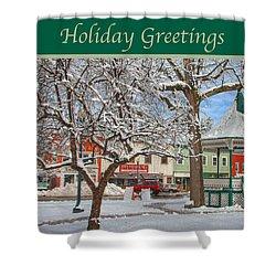 New England Christmas Shower Curtain by Joann Vitali