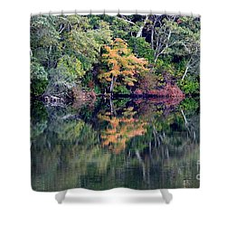 New England Fall Reflection Shower Curtain by Carol Groenen