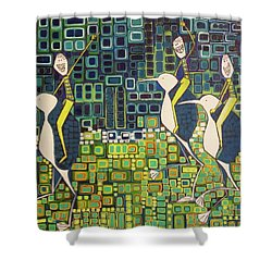 Shower Curtain featuring the painting New Moon Penguin Races by Donna Howard