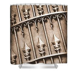 New Orleans Gate - Sepia Shower Curtain by Carol Groenen