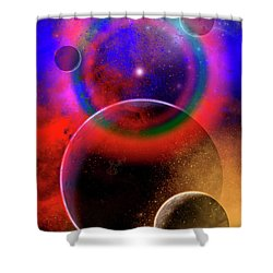 New Planets And Solar Systems Forming Shower Curtain by Mark Stevenson