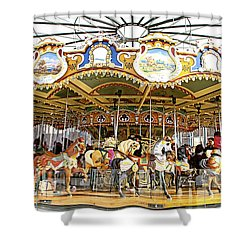 Shower Curtain featuring the photograph New York Carousel by Alice Gipson
