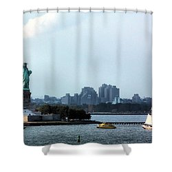 New York Harbor Shower Curtain by Kristin Elmquist