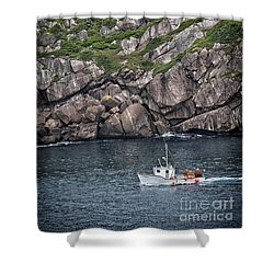 Newfoundland Fishing Boat Shower Curtain by Verena Matthew