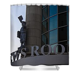 Shower Curtain featuring the photograph News Room by Stephanie Nuttall