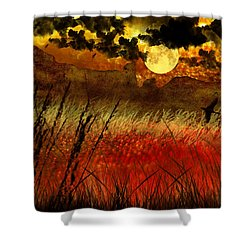 Night Falls Over The Land Shower Curtain by Ellen Heaverlo