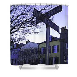 Shower Curtain featuring the photograph Night In Savannah by Andrea Anderegg