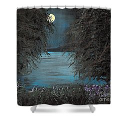 Shower Curtain featuring the painting Night In The Bayou by Alys Caviness-Gober
